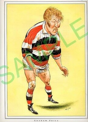 Framed picture Graham Price by John Ireland, Rugby