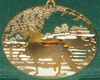 NEW IN BOX - Saddlebred Horse 24k Gold Plated Ornament- Kingsheart Forge