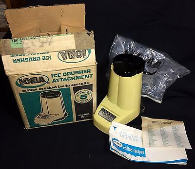 VTG IONA Blender Ice Crusher Attachment Model IC-3, Unused NOS w/ Box & Papers