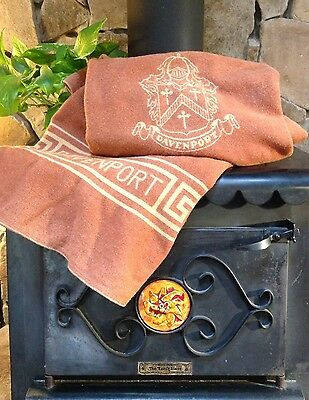 NEAT Unique Vtg North Star Blankets ~1940 Wool DAVENPORT Crest Coat of Arms Rust