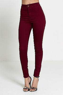 Womens Wine High Waisted Stretchy Skinny Jeans Ladies Jeggings Pants Size 6-22