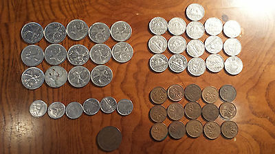 Lot of 52 Canadian Canada Coins 14 25-cents 16 5-cents 6 10-cents 16 1-cents