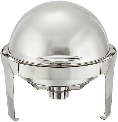 Winco 6-Quart Madison Stainless Steel Round Roll Top Chafing Dish