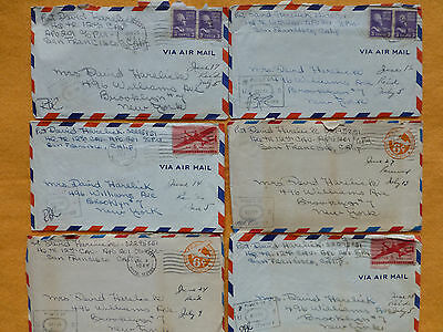Lot of 6   WW II  Soilder Love Letters  with Censored Stamps (lot-B)