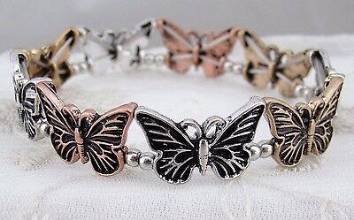 Butterfly stretch Bracelet Gold Silver Copper Fashion Jewelry NEW