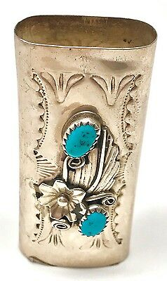 NATIVE AMERICAN NAVAJO INDIAN SILVER Turquoise Small lighter case