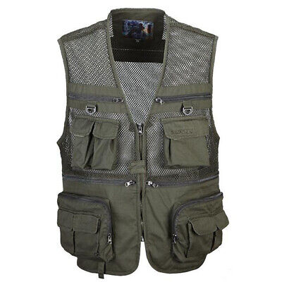 Army Green/Camo Men's Fly Fishing Mesh Vest Photography Jacket Waistcoat XL-XXXL