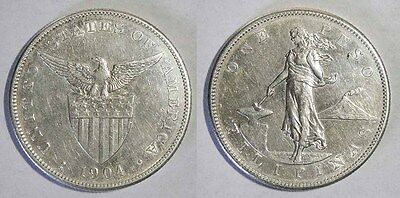Philippines 1904 S 1 Peso Large SILVER Coin - Sharp