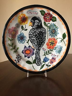 Anthropologie Nathalie Lete Black Bird Francophile Dinner Plate NEW Collectible