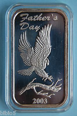 Rare Silver Art Bar .999 Fine Silver 1 Troy Ounce - Father's Day 2003