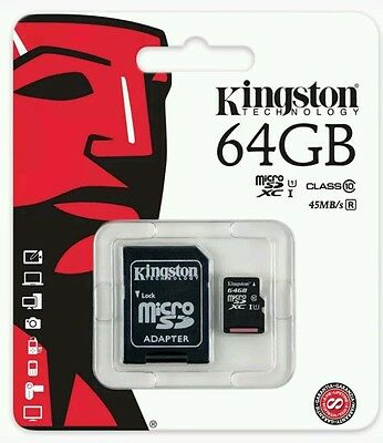 Kingston 64Gb Micro SDHC Memory Card Class 10 45mb/second Inc SD Card Adopter