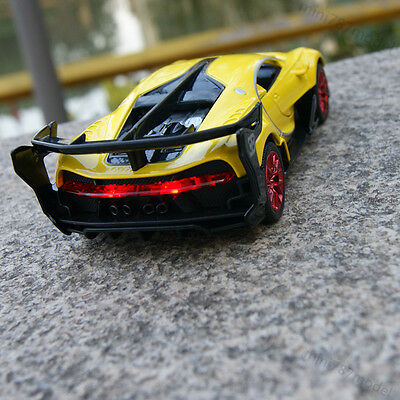 Bugatti Vision Model Cars 1:32 Concept Sound&Light Alloy Diecast Yellow Toy Gift