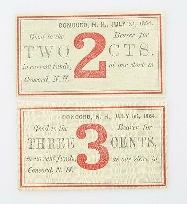 1864 Two Three Cent Fractional Currency UNC Concord New Hampshire Merchant Scrip