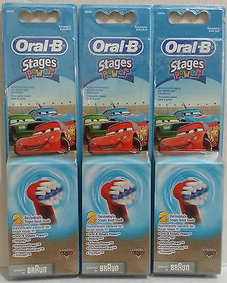 Oral-B Kids Disney Cars Stages Power Electric ToothBrush Refills Heads x 6 AUS