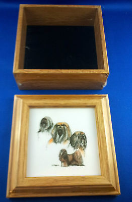 Collectible Lhasa Apso Wooden Framed Picture Box Notes Pen and Coasters