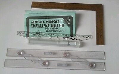 selection of old drafting rulers