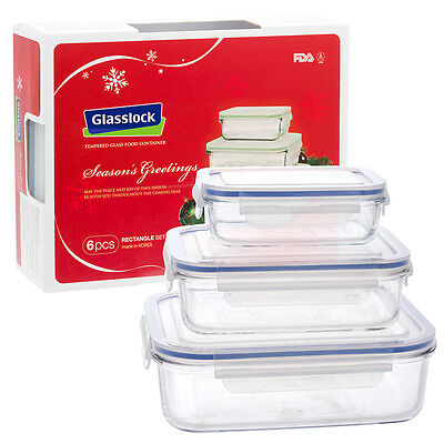 NEW Glasslock Tempered Glass Food Container Set 6pce