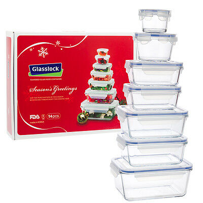 NEW Glasslock Tempered Glass Food Container Set 14pce