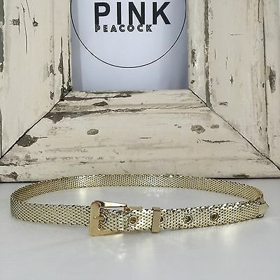 WHITING & DAVIS Gold VINTAGE Belt COLLECTABLE Mesh Fashion AS NEW Disco Glam