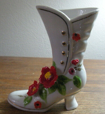 VTG Victorian Boot Capodimonte Porcelain Red Poppies Lady Shoe Figurine Vase 5""
