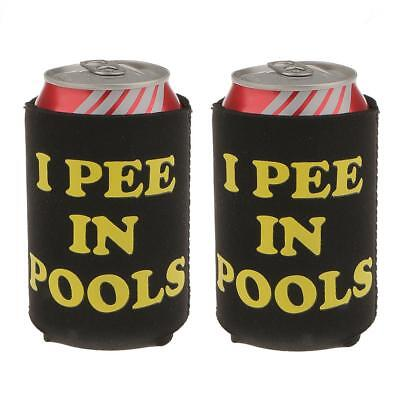 2 Neoprene I Pee in Pools Beer Stubby Soda Can Chilling Holder Wrap Sleeve
