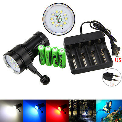 Diving Photography Video 12000LM 10xXM-L2+4xRed+4xBlue LED Flashlight 4X18650+CH