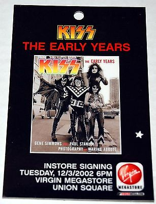 KISS 1974 Early Years Photo Book Virgin Store NY Signing Promo Pass Gene Paul