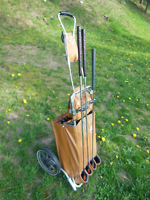 Vtg 1950s SR Tour Mate Golf Cart with 3 Wood Driver CLASSIC RETRO use or collect