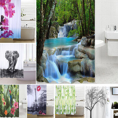 9 Pattern Extra Long Fabric Bath Shower Curtain With 12 Hooks Ring Bathroom Use