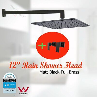 """Wall Mount 12"""" Black Shower Head / Arm 1/2 Turn Double Twin Top Taps Rose Set"""
