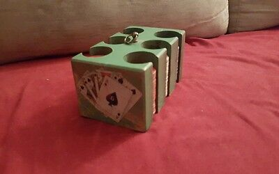 ANTIQUE VINTAGE POKER CHIP SET WITH WOODEN CARRIER, Handpainted