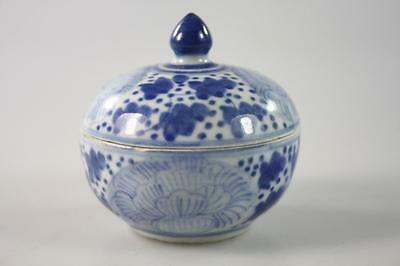 Vintage Chinese Blue And White Handpainted Lidded Mini Bowl
