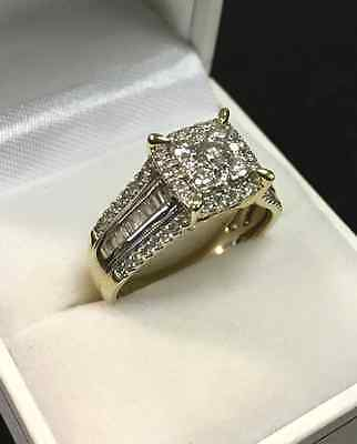 Gorgeous Solid 9k Yellow Gold 1.50ct Total Diamond Engagement Ring RRP $3,699.0