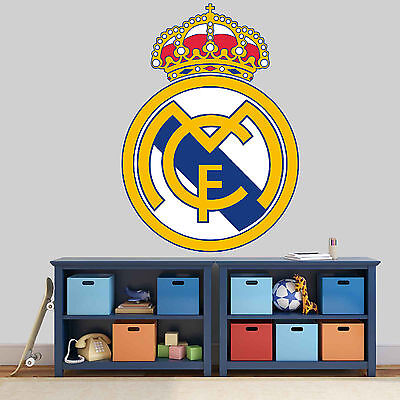 NEW XL 220 REAL MADRID FC club badge STICKER FOOTBALL ROOM BOYS GIRL VINYL WALL