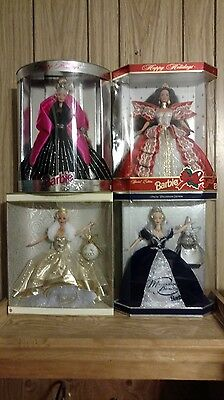 Lot Of 4 Nib Collectible Barbies ~ 2 Holiday Barbies & 2 Millennium Barbies ~