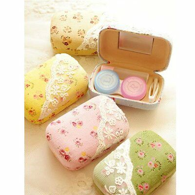 Portable Home Travel Cute Lace Contact Lens Case Kit Container Storage Box