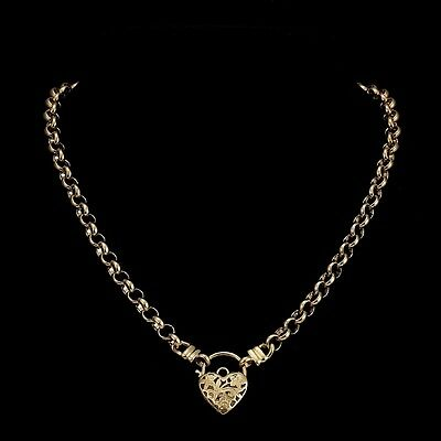 18K Yellow Gold GL Women's Solid Medium Belcher Necklace & Filigree Heart Clasp