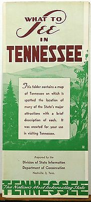 1940's What to See in Tennessee vintage state map and info brochure b