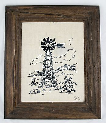 Vintage Framed Needlepoint Wall Hanging -  Windmill Country Art 13 X 11 Outsider