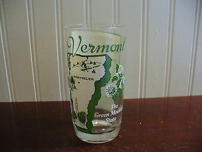 GREEN MOUNTAIN STATE! Vintage Vermont Souvenir Champlain Song Glass