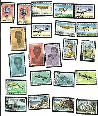 Grenadines of St. Vincent - Lot of 58 Stamps 1975-1983 Uncancelled Never Hinged