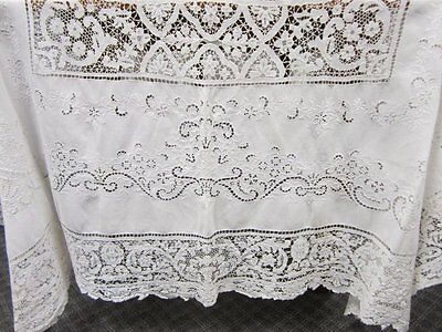 """Lovely Antique Linen & Lace Tablecloth~Large Size, 144"""" Long X 66"""" Wide"""