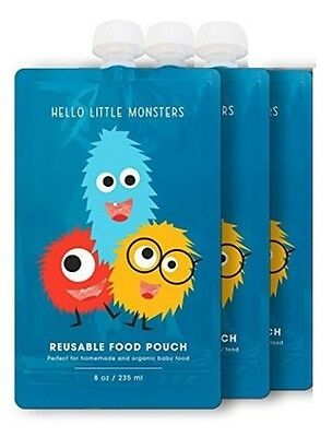 Reusable Food Pouch 3 Pack by Hello Little Monsters - 8 oz. - Easy to refill NEW