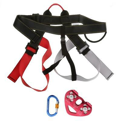 Outdoor Survival Rock Climbing Safety Harness Rope Pulley Carabiner Set Gear