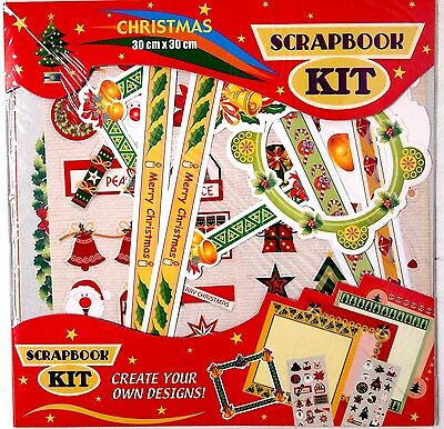 Christmas Scrapbooking Kit 30 X 30Cm - With Stickers And Frames Craft Festive