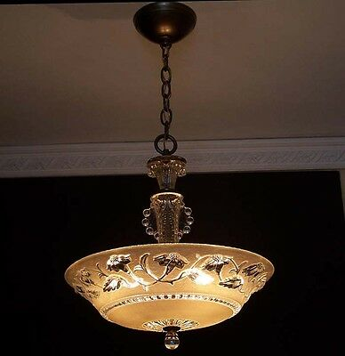 556 1940's Vintage Ceiling Light Lamp Fixture Glass Chandelier Re-Wired antique