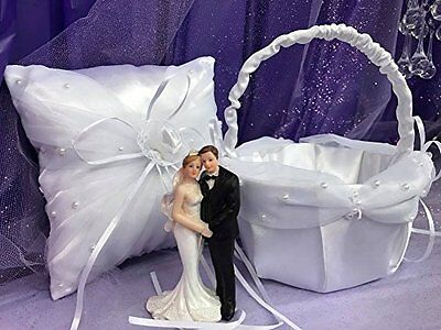 Wedding Bride and Groom White Satin Pillow with Basket Choose Item
