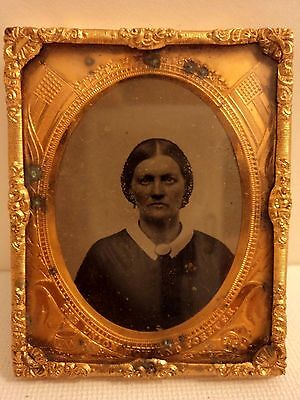 Antique Cased Ambrotype On Glass Photo of a Civil War Nurse Framed with US FLAG