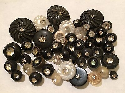Large Vintage lot plastic buttons rhinestone jewels sparkle bling fun!