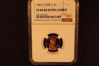 """1981-S Ngc Pr68 Rd Ucamrd """"red"""" Type 2 Lincoln Cent"""